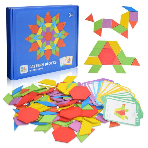 best selling 155pcs Wooden Jigsaw Puzzle Board Set Colorful Baby Educational Toys for Children Early Learning Developing Toy