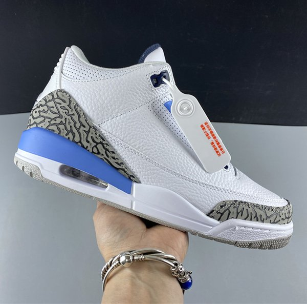 Air 3 UNC White Valor Blue CT8532-104 3s III Kicks Women Men Sports Shoes Sneakers Top Quality Trainers With Original Box