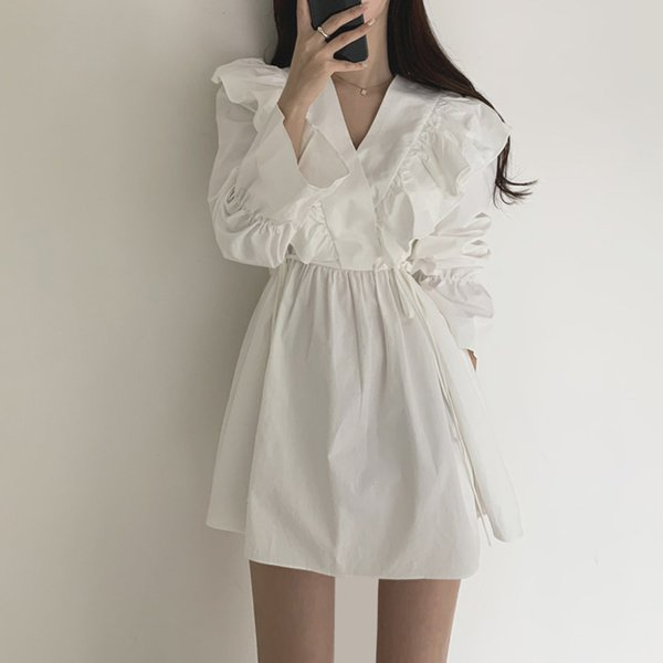Ruffles Dresses for Women White Dress 2021 Summer Korean Fashion Long Puff Sleeve Clothing Sweet Girl Casual Pleated Apparel Womens Clothing Dresses Casual Dresses Party Dresses Runway Dresses Street Style Dresses Work Dresses