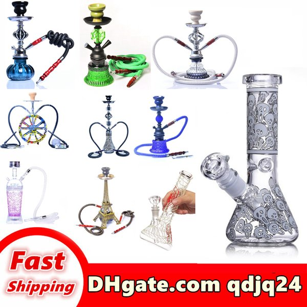 best selling Wholesale High-grade hookahs glass water pipe bong luminous effect can be customized you like the style spider pattern