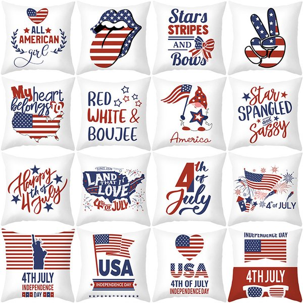 top popular 2021 new independence day pillow cover American national day letter flag sofa pillow cover household products 2021