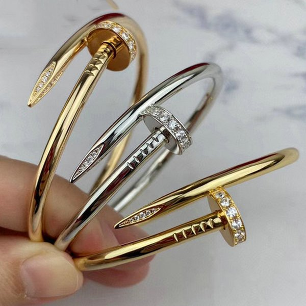 top popular 16 19 21 Cuff Bracelet Women Men Titanium Steel Nail Bracelets Gold WeddingJewelry For Lover with box set 2021