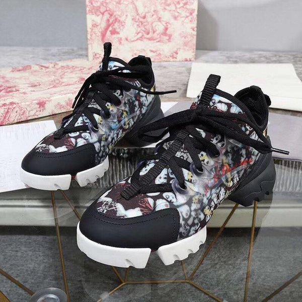 2021 fashion casual block genuine leather dad shoe sneakers shoes mesh black breathable bows platform popular 35-41