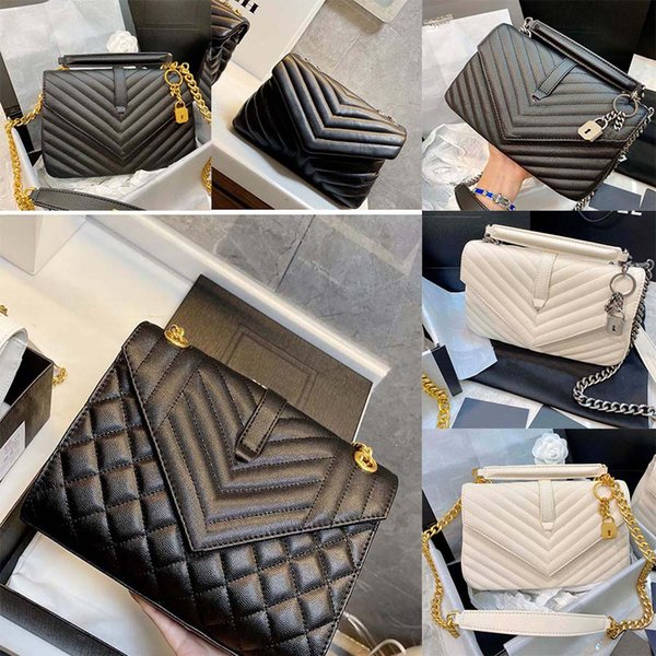 top popular Ladies black calfskin caviar classic Diamond quilted bag chains double flap medium Genuine Leather crossbody shoulder bags 19 2021