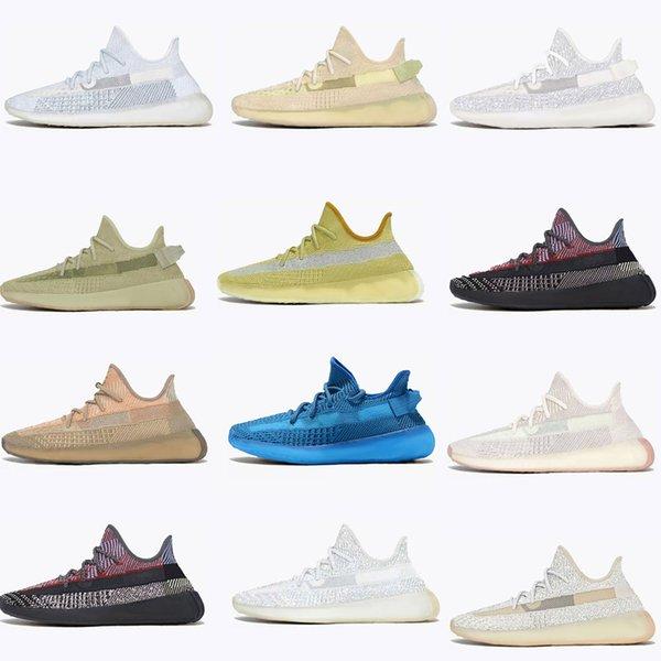 2021 Static 3M Reflective kanye Mens west Womens Running Shoes shoe Designer Sneakers White Zebra Glow Cinder Israfil Tail Light Sport yeezys yezzy 350 v2