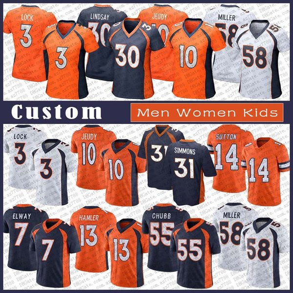 best selling 3 Drew Lock Custom Men Women Kids Stitched Football Jersey 10 Jerry Jeudy 31 Justin Simmons 7 John Elway 58 Von Miller 55 Bradley Chubb 14 Courtland Sutton 13 K.J. Hamler