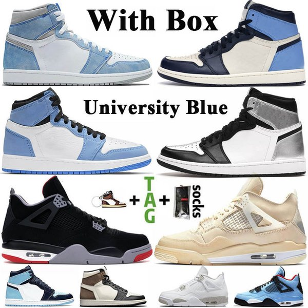 top popular With Box Jumpman 1 1s Mens Basketball Shoes University Blue Hyper Royal Obsidian UNC 4 4s Sail Bred White Oreo Women Sneakers Trainers 2021
