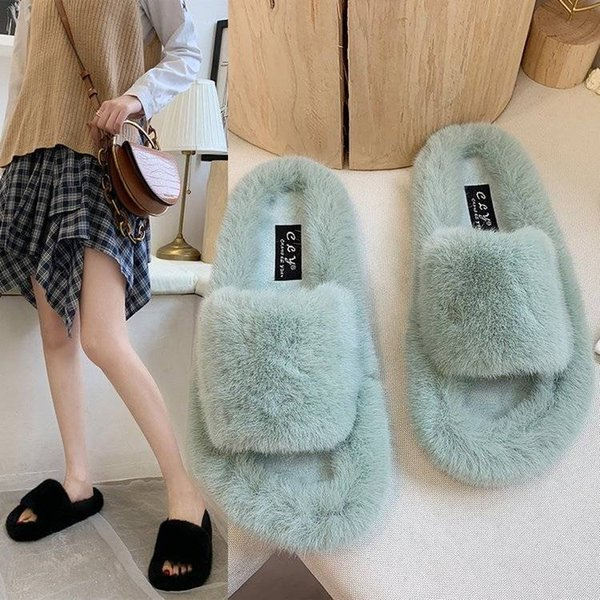 Slippers Women Furry Women Slippers House Slippers Cute Plush Fur Winter Female Lady Indoor with fur