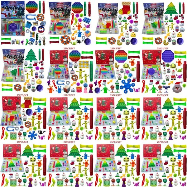 best selling 24 25 Days Christmas Fidget Toy Xmas Countdown Calendar Blind Boxes Push Bubbles Kids Gifts 10 Styles Advent Calendar Christmas Box