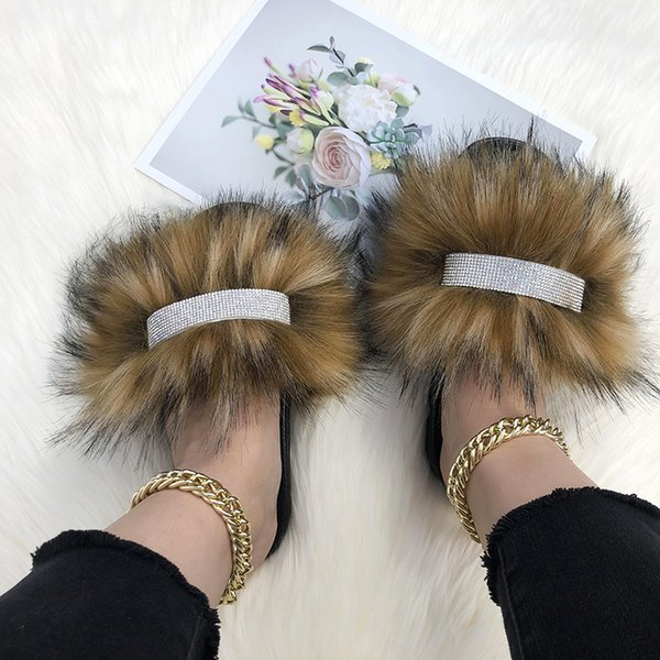 Faux Fur Slippers Summer Rhinestone Slippers 2021 Fluffy Slippers For Home Sandals Women Flip Flops Ladies Slides Big Size 44-45