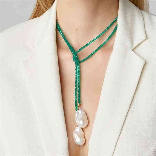 best selling Women Temperament Long Drop Pendientes Necklace Baroque Freshwater Pearl Green beads Exquisite Handmade Choker Jewelry 210331