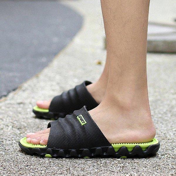 SAGACE Slippers Gentleman Summer Leisure Solid Flat With Round Toe Massage Health Wear Non Slip Beach Slippers Men 2020Feb21 c8w7#