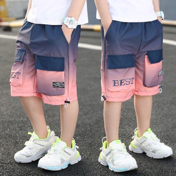 top popular Children's Boys' Shorts New Summer Wear Gradient Beach Pants 2021