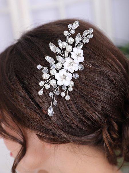 Girl Women Hair Accessories Flower Hair Comb Pearl Crystal Rhinestone Head Jewelry Elegant Wedding Headdress Bridal Headwear