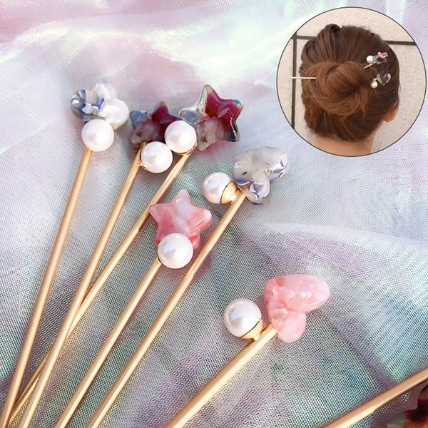 New Arrival Hair Jewelry Accessories Handmade Five-pointed Star Pearl Hair Sticks Hairpin For Women Girls Vintage Hair Stick