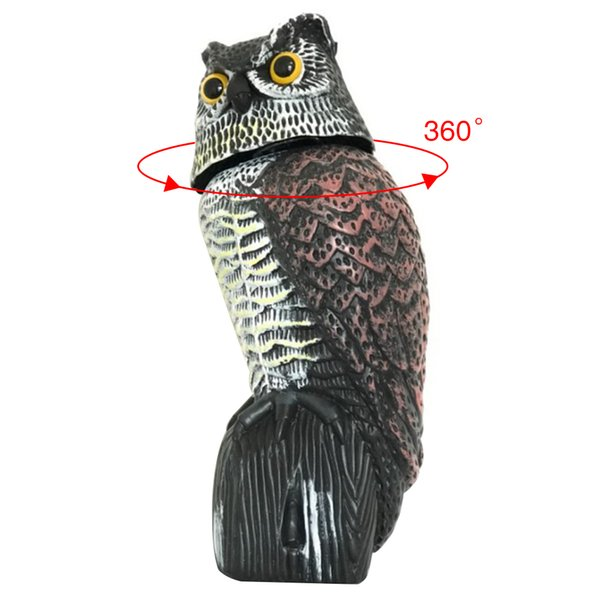 Yard Bird Scarer Owl 360 Rotating Head Wind Realistic Garden Protection Scarecrow Owl Decoy Fake Pest Control Outdoor Decor