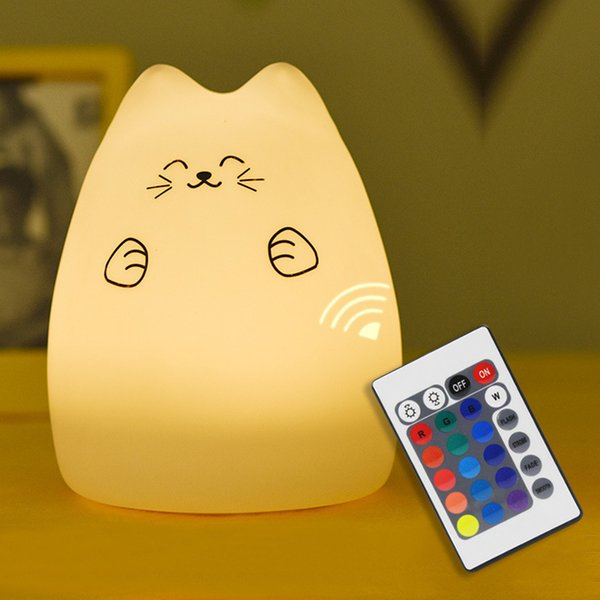 Premium 7 color cat led usb children light animals night silicone soft silicone from baby cartoon nursery lamp Breath led night light