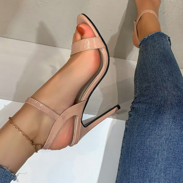Women Sandals Ladies PU Pointed Toe High Heels Shoes Summer Woman Stiletto Plus Size Sexy Female Buckle Strap Footwear