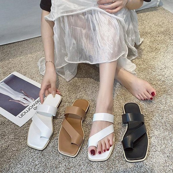 Women Slippers Clip Toe Flats Ladies Sandals Flats PU Leather Fashion Female Slides Casual Beach Slippers 2021 Summer Shoes