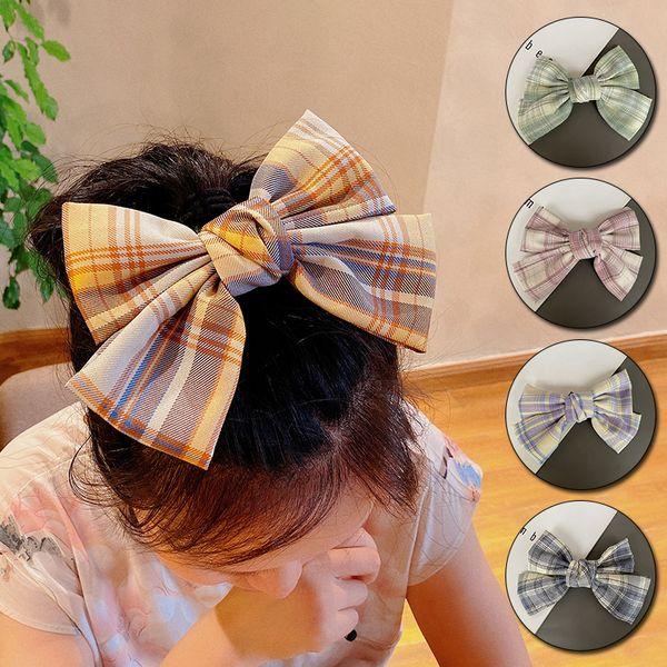 New Women Girls Cute Plaid Bow Hairpins Headband Sweet Hair Ornament Clips Barrettes Lovely Fashion Hair Clips Hair Accessories