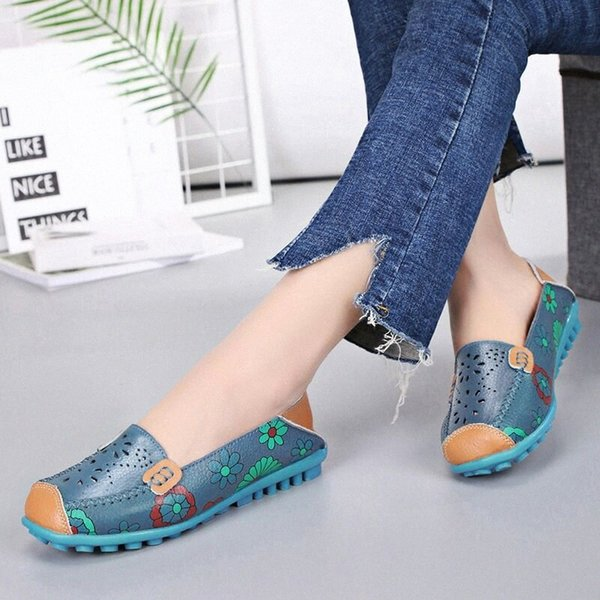Women Shoes Flats Genuine Leather Loafers Fashion Moccasins Shoes Women Slip On Ballet Flats Printing 2020 New Arrivals g7JG#