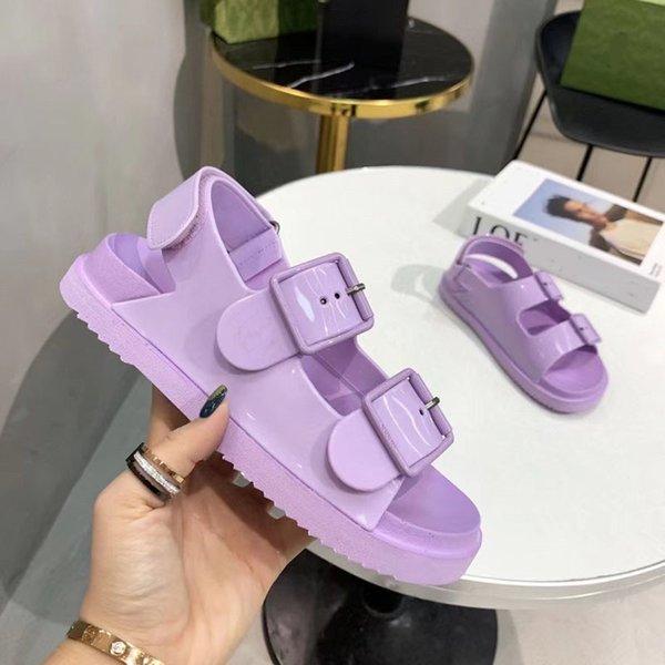 top popular 2021 Designer Women's sandal with mini Strap Buckle Rubber sole Platform Sandals Candy Cartoons Slides Summer Beach Casual Shoes Box 2021
