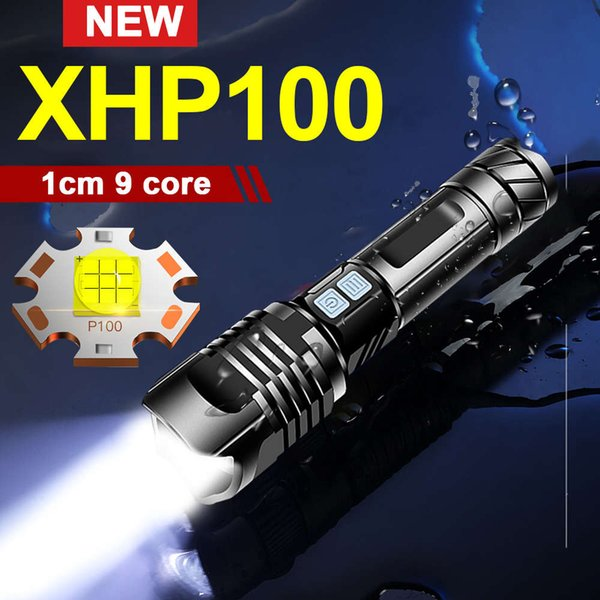 best selling 450000 LM XHP100 most powerful tactical flashlight 18650 26650 rechargeable USB torch light XHP90 XHP70 XHP50 Hunting lantern 201207