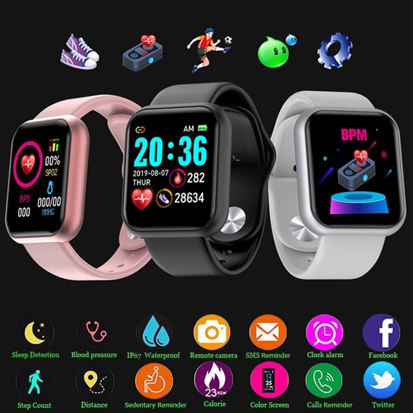 best selling Y68 D20 SmartWatch Fitness Bracelet Blood Pressure Heart Rate Monitor Pedometer Cardio Bracelet Men Women Smart Watch for IOS Android #012