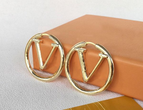 top popular Fashion gold hoop earrings for lady Women Party Wedding Lovers gift engagement Jewelry for Bride 2021