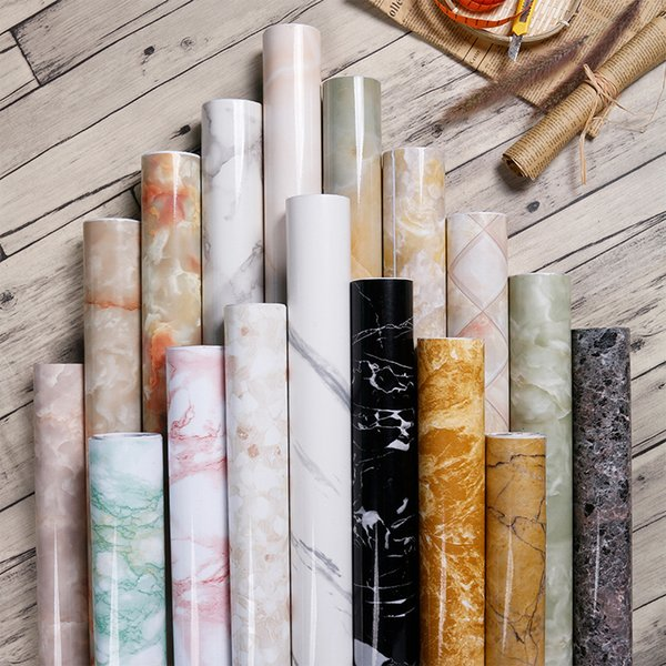 top popular Premium Marble PVC Waterproof Self Adhesive Wallpaper DIY Furniture Cabinet Wardrobe Renovation Home Decor Kitchen Bathroom Sticker 2021