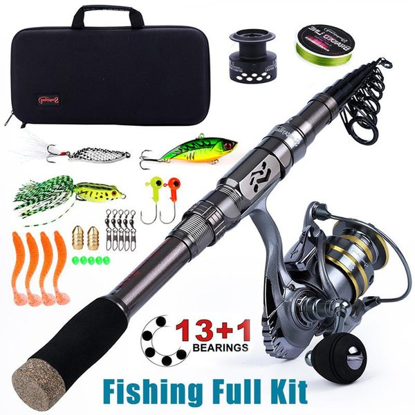 top popular Sougayilang Fishing Full Kit -1.8-2.4m Pole With Free Spool Spinning Reel Bag For Travel Rod Combo 2021