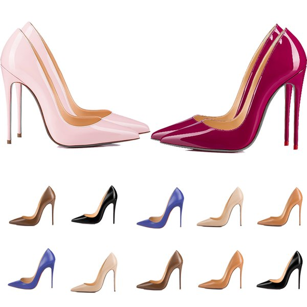 top popular Women Red Bottom High Heels Pointed Toes Luxurys Designers Shoes Genuine Patent Leather Pumps Lady Wedding Sandals 2021