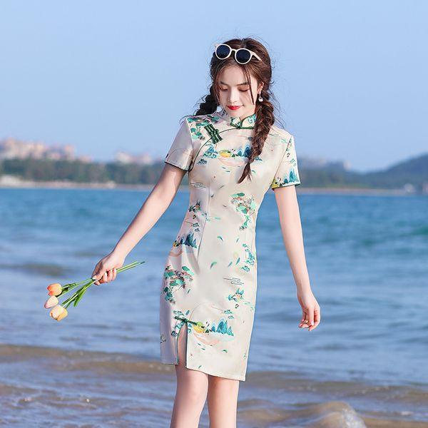 Chinese Landscape Printing Short Sleeve Mini Cheongsam Female Ice Silk Qipao Elegant Traditional Clothing Size S-2XL Apparel Ethnic Clothing DIY Clothing Mens Clothing Womens Clothing Ethnic Clothing