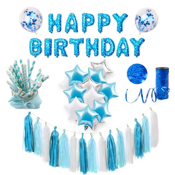 top popular Blue Party Decoration Baby Shower Boy Party Supplies Kids Favors Birthday Party Decoration 1st Birthday Balloons Banner 2021