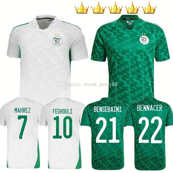 top popular men+kids kits 2021 2022 Algeria Mahrez 2021-22 Soccer Jerseys 21 22 BOUNEDJAH FEGHOULI BENNACER ATAL home white away green black Maillot de foot Football Shirts 2021