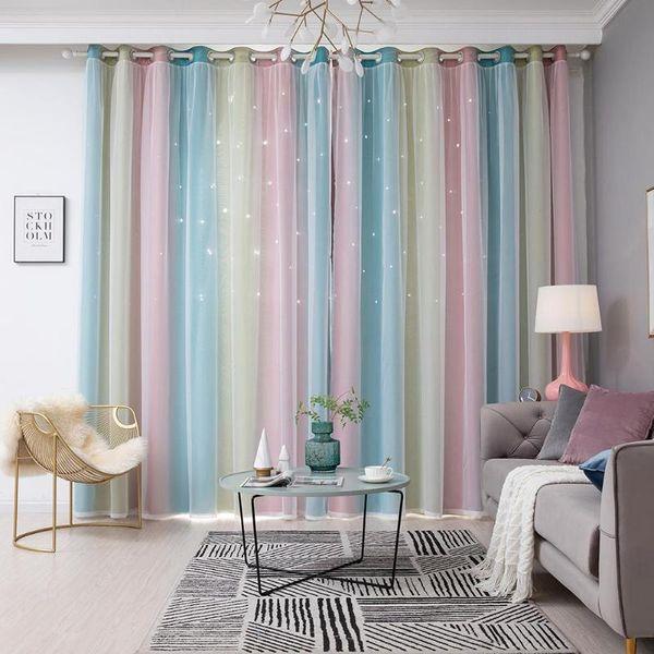 top popular Curtain & Drapes 100x250CM Romantic Rainbow Color Sheer Girl Kids Bedroom Full Blackout Window Hollow Star Home Decor 2021