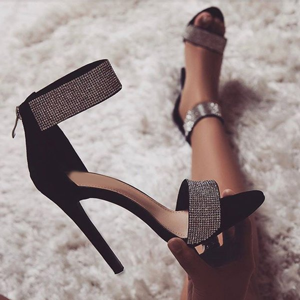 Women Srxy Sandals Stiletto Glitter High Heels Ladies Fashion Zipper Pointed Toe Rhinestone Plus Size Woman Pumps Party Shoe