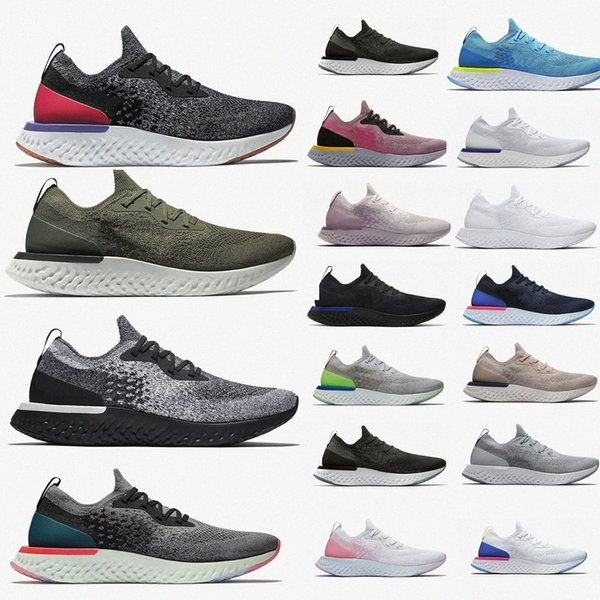 top popular Epic React Fly knit V2 V1 Men Women Running Shoes ALL White Triple Black Pewter Fusion Outdoors Trainers Men Sports SneakersgavR# 2021