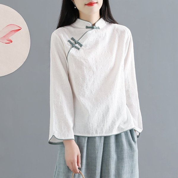 Traditional Chinese Clothing Cotton Linen Shirt Blouse Vintage Lady Solid Tops Oriental Hanfu Chinese Style Clothing Women 11101 Apparel Ethnic Clothing DIY Clothing Mens Clothing Womens Clothing