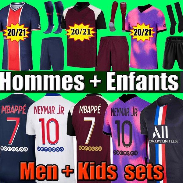 best selling 20 21 MBAPPE KEAN soccer jerseys VERRATTI 2020 2021 MARQUINHOS KIMPEMBE DI MARIA tops men shirt and kids sets + socks maillots de football
