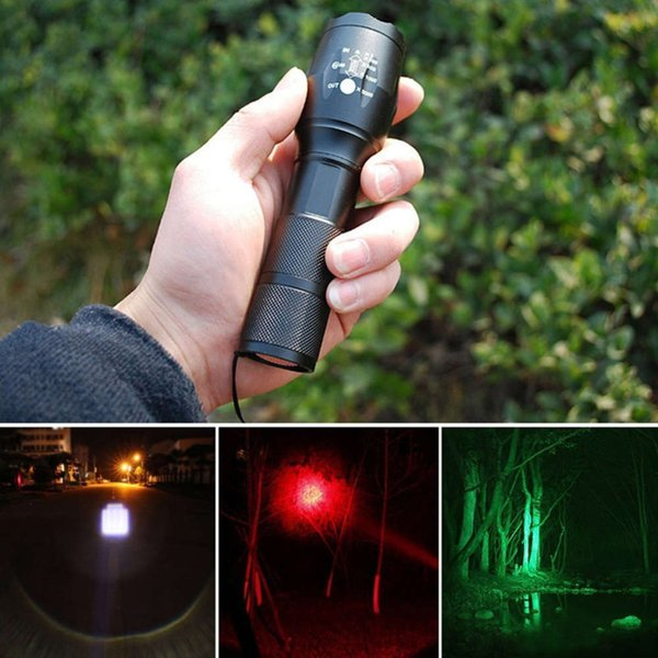 top popular Tri-Color Flashlight 5 Mode Green Red White Powerful LEDs-1000 lumens Zoomable Tactical Torch Button magnets for Hinking Camping 201207 2021