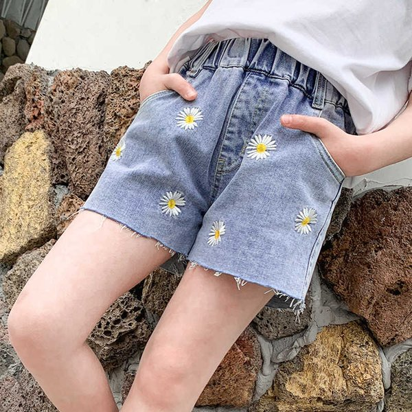 top popular Girls' Denim Shorts Cotton Summer 2021 New Cuhk Cartoon Embroidered Beach Pants for Children 2021
