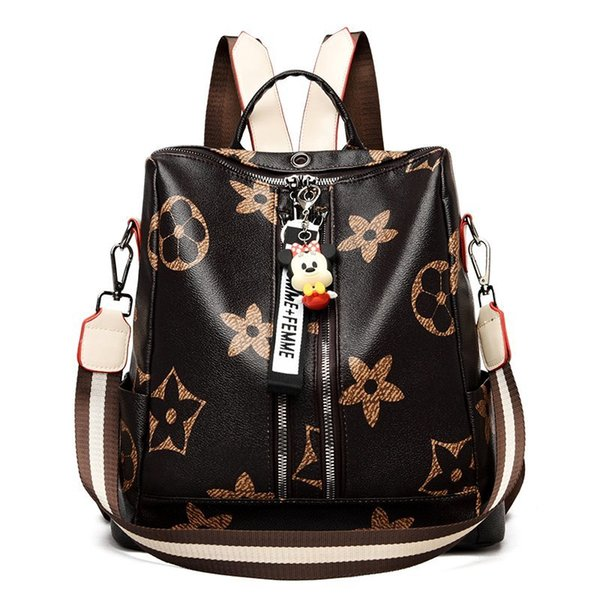 best selling Backpack 2021 anti-theft fashion large capacity joker print vintage outdoor women must travel fitness soft leather universal