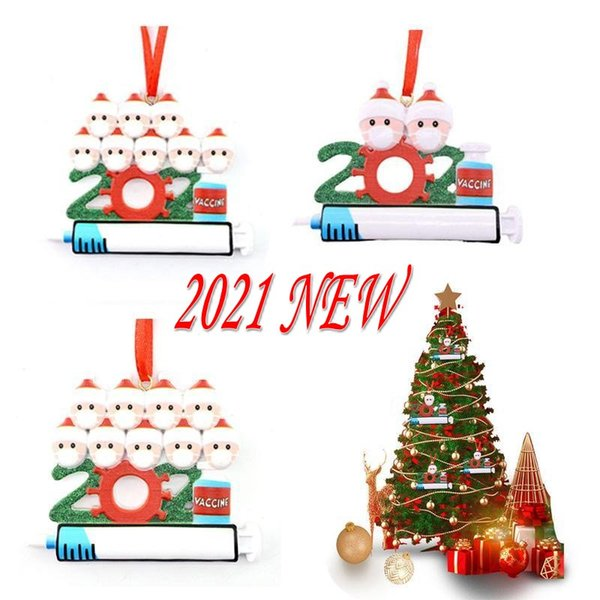 best selling DHL Quarantine Personalized Christmas 2021 Decoration DIY Hanging Ornament Cute Resin Snowman Pendant Social Distancing Party DHL Fast Free Delivery