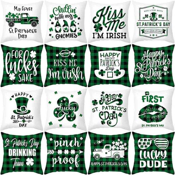 top popular St. Patrick's Day pillow case Irish National Day Plaid sofa cushion cover peach skin velvet pillow 2021