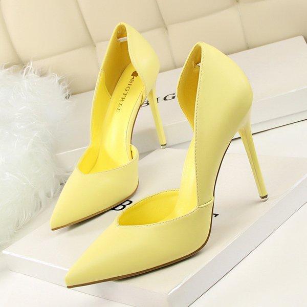 2021 Women Pumps Ladies Shoes High Heels Women Shoes Heels Sexy High Heels Shoes Stiletto Point Red Yellow Chaussure Femme