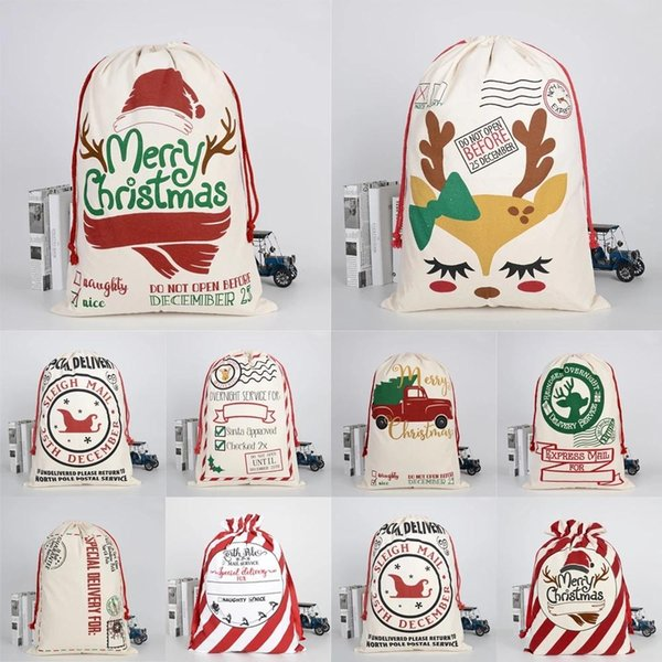 best selling Lowest Price!!DHL 2021 Christmas Santa Sacks Gift Bags Large Organic Heavy Canvas-bag Santa Sack Drawstring Bag With Reindeers