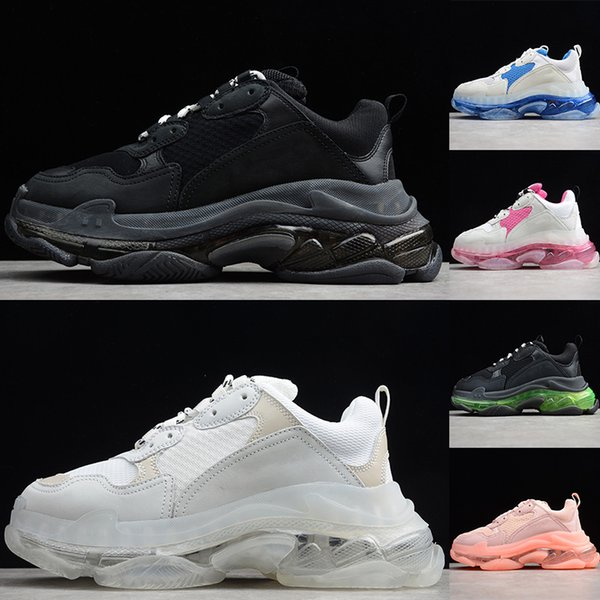 best selling Mens Dress Shoes Triple S 17FW Crystal Bottom Paris Sneakers Black Cream Red Dad Trainers Platform Women Fashion CasualRetroDesigners Outdoor Flat Heels