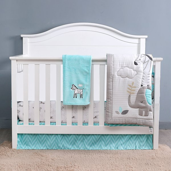 4PCS Blue Grey Cotton Baby Bed Linens Baby Cot Bedding Infant Cot Fitted Sheets Girl Boy (duvet+fitted sheet+bed skirt+blanket)