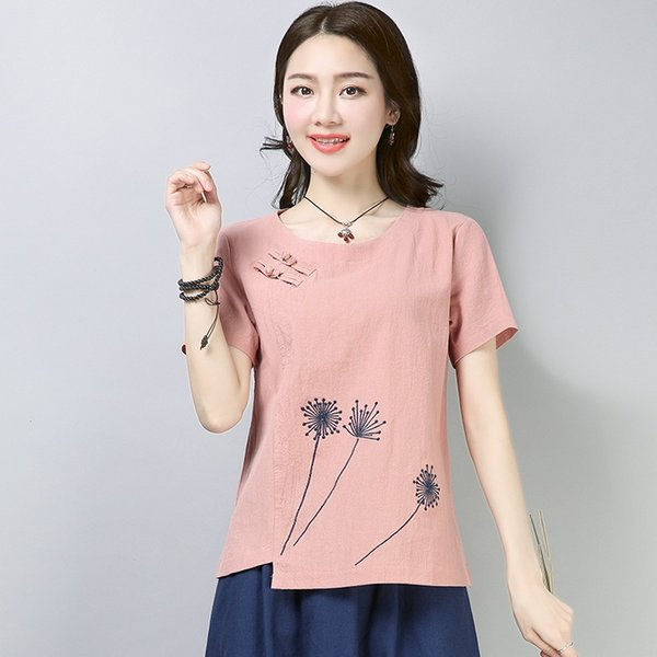 Ladies Chinese Tops Summer Blouses 2021 Traditional Chinese Clothing Print Vintage T Shirt Chinese Style Clothing Women 12482 Apparel Ethnic Clothing DIY Clothing Mens Clothing Womens Clothing